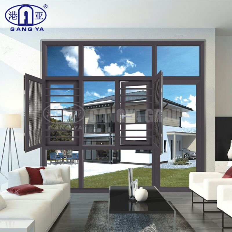 Good Quality Aluminum Glass Double Casement Window Glass 120 Series