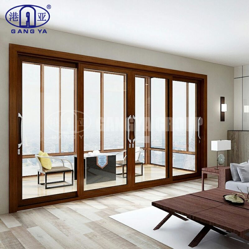 Luxury Heavy Duty Top Quality Hotel 2.0mm Thickness Aluminum Framed Glass Slide Main Gate Door 50 Series